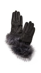 Kate Spade Fox Faux Fur Gloves Black Silver Fox
