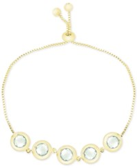 Victoria Townsend Green Quartz Bezel Set Adjustable Bracelet 6 Ct. T.W. In 18K Gold Plated Sterling Silver Yellow Gold
