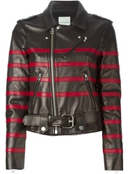 Each X Other Striped Biker Jacket Black