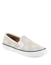Sperry Perforated Leather Sneakers White