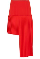 Stella Mccartney Arianna Asymmetric Pleated Wool Crepe Skirt Tomato Red