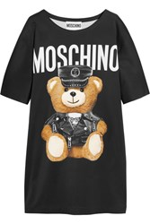 Moschino Oversized Printed Jersey T Shirt Dress Black