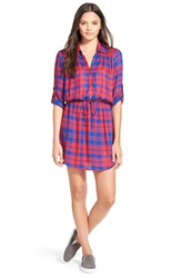 Socialite Plaid Roll Sleeve Shirtdress Navy Plaid