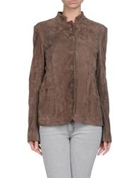 Dinou By Joaquim Jofre' Leather Outerwear Dove Grey