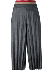 Aviu Pleated Cropped Trousers Women's Size 42 Grey