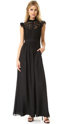 Rachel Zoe Lace Paneled Gown Black