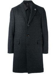 Lardini Plaid Mid Coat Grey