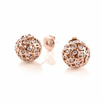 Sonal Bhaskaran Svar Rose Gold Stud Earrings Clear Cz