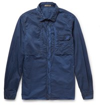 Bottega Veneta Slim Fit Garment Dyed Cotton Shirt Blue