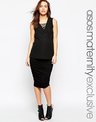 Asos Maternity Ruched Bodycon Skirt Black