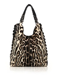 Roberto Cavalli Leopard Print Calf Hair And Leather Tote
