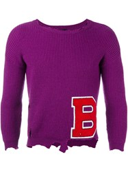 Raf Simons Varsity Style Distressed Jumper Pink And Purple