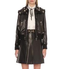 Gucci Ruffled Leather Jacket Blk