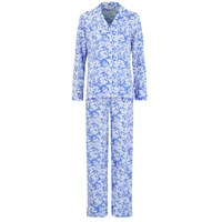 Derek Rose Women's Toile Ladies Pyjama Set White Cobalt Blue