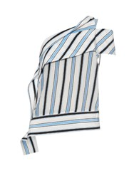 Msgm One Shoulder Striped Silk Top White Multi