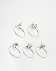 Monki Lucky Ring Set Silver