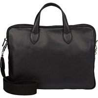Barneys New York Men's Double Handle Briefcase Black Blue Black Blue