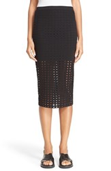 Women's T By Alexander Wang Circle Cutout Jersey Midi Skirt Black