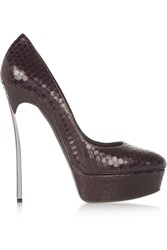 Casadei Snake Effect Leather Pumps Purple