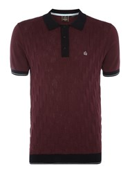 Merc Short Sleeve Diagonal Stick Knitted Polo Wine