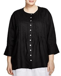 Allen Allen Plus Pintuck Linen Shirt Black