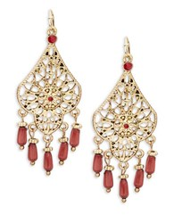 Design Lab Lord And Taylor Openwork Floral Drop Earrings Red