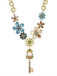 Dolce And Gabbana Crystal Embellished Flower And Key Necklace Gold