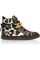 Giuseppe Zanotti Chain Embellished Calf Hair And Leather Sneakers