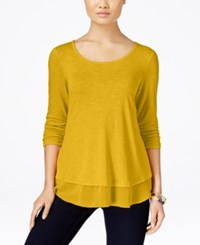 Styleandco. Style Co. Chiffon Hem Top Only At Macy's Saffron Yellow