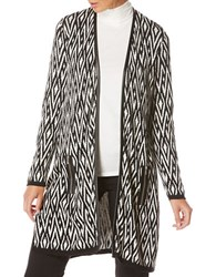 Rafaella Long Sleeve Jacquard Duster Jacket Black