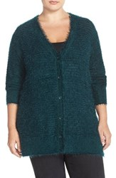 Plus Size Women's Sejour 'Happy' Eyelash Yarn V Neck Cardigan Green Ponderosa