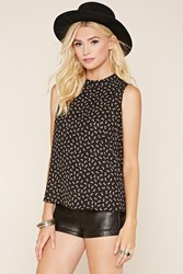 Forever 21 Floral High Neck Blouse