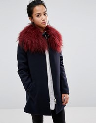 Urbancode Faux Fur Collar With Ribbon Tie Burgundy Red