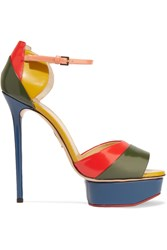 Charlotte Olympia Color Block Glossed Leather Sandals Blue