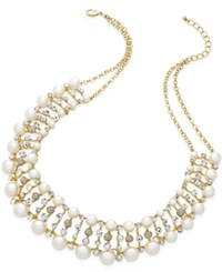 Charter Club Gold Tone White Bead And Crystal Drama Necklace Only At Macy's