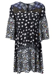 Suno Floral Bell Sleeve Dress Black