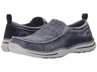Skechers Relaxed Fit Elected Drigo Navy Canvas Men's Slip On Shoes Blue