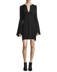 Derek Lam Bell Sleeve Silk Shift Dress Black
