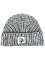 Stone Island Ribbed Knit Beanie Grey