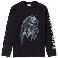 Palm Angels Long Sleeve Metal Skull Tee Black