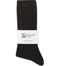Johnstons Ribbed Cashmere Blend Socks Charcoal