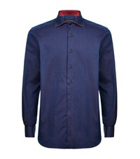 Stefano Ricci Chambray Contrast Shirt Male Blue
