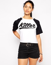 Illustrated People Killer Crop T Shirt White