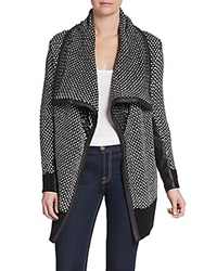 Saks Fifth Avenue Red Faux Leather Trimmed Birdseye Cardigan Black White