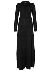 M Missoni Black Intarsia Wool Blend Maxi Dress