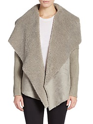 Saks Fifth Avenue Faux Shearling Lined Jacket Grey