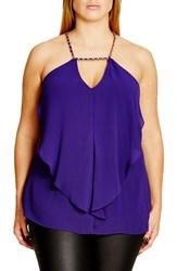 City Chic Plus Size Women's 'Impress' Chain Detail Draped Chiffon Camisole Royalty