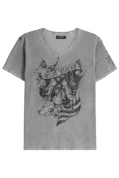 Rude Riders American Eagle Cotton T Shirt Grey