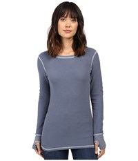 Allen Allen L S Thumbhole Tee Thermal Crew Blue Haze Women's Long Sleeve Pullover