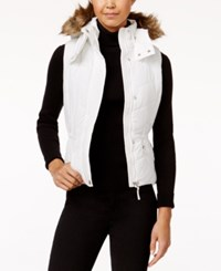 American Rag Faux Fur Trim Hooded Puffer Vest Only At Macy's Egret